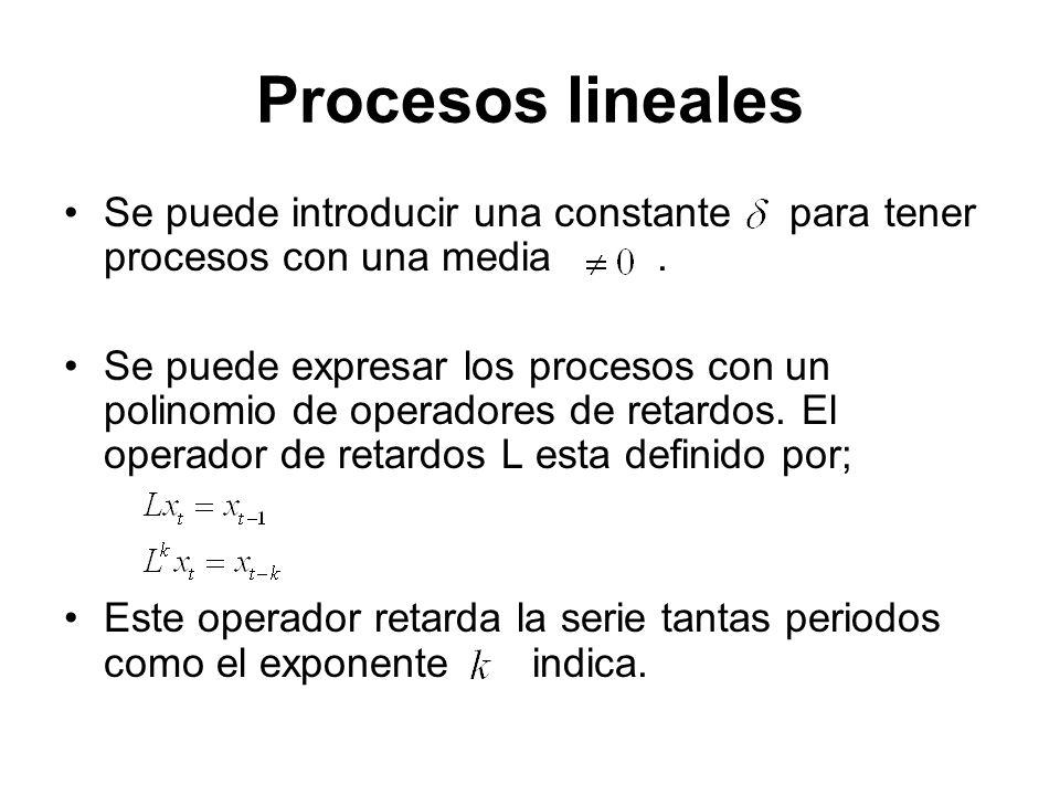 Procesos lineales Se puede introducir una constante para tener procesos con una media. Se puede expresar los procesos con un polinomio de operadores d