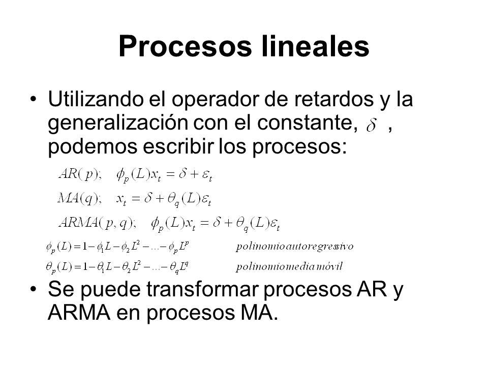 Procesos lineales Utilizando el operador de retardos y la generalización con el constante,, podemos escribir los procesos: Se puede transformar proces