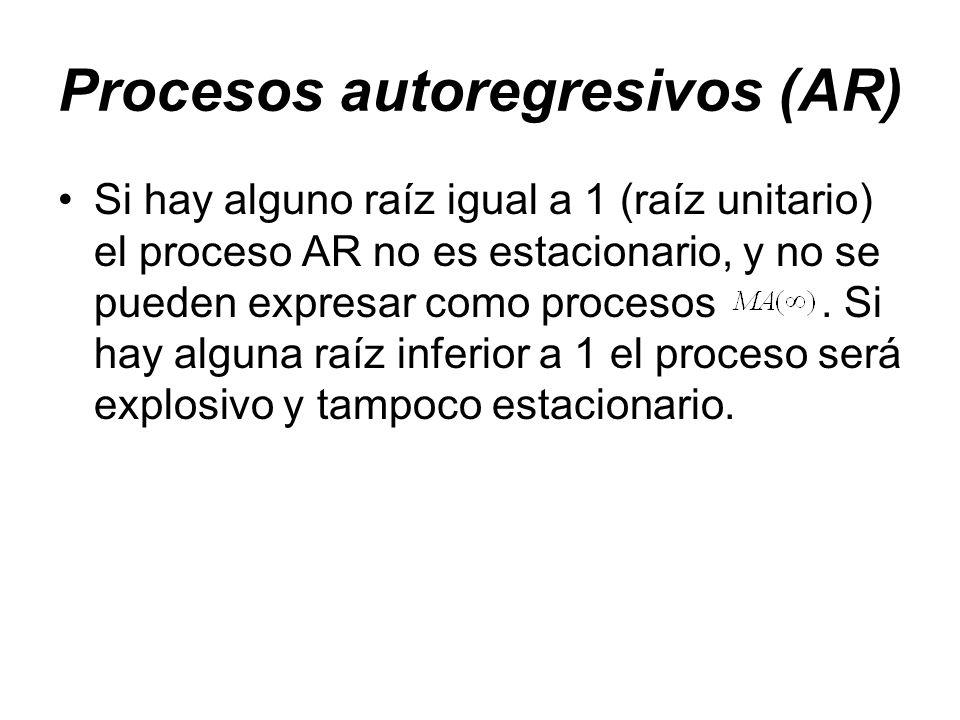 Procesos autoregresivos (AR) Si hay alguno raíz igual a 1 (raíz unitario) el proceso AR no es estacionario, y no se pueden expresar como procesos. Si