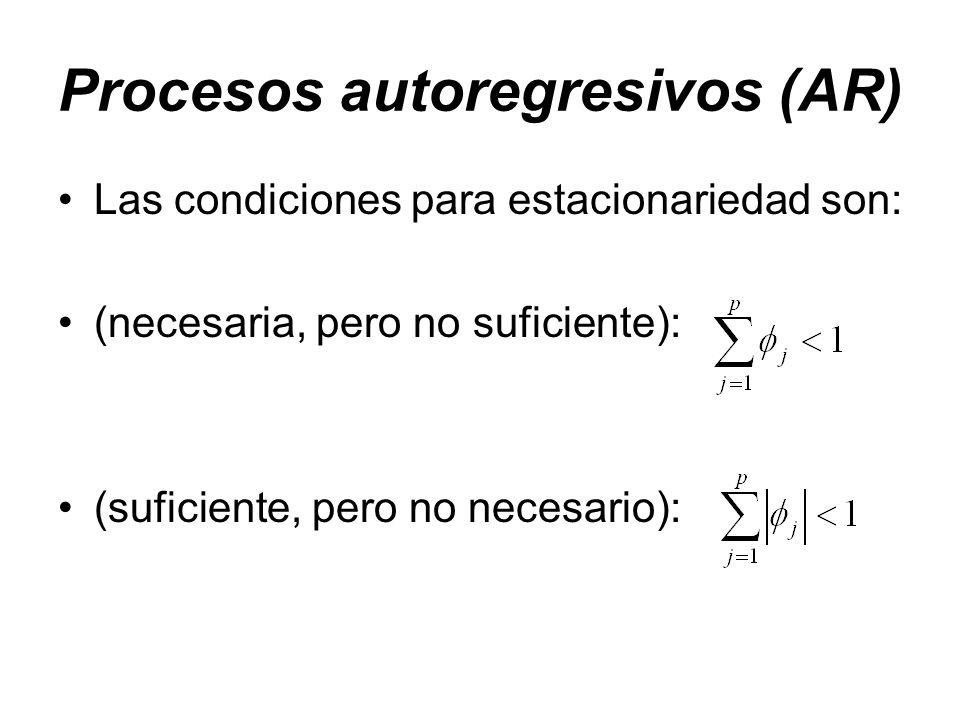 Procesos autoregresivos (AR) Las condiciones para estacionariedad son: (necesaria, pero no suficiente): (suficiente, pero no necesario):