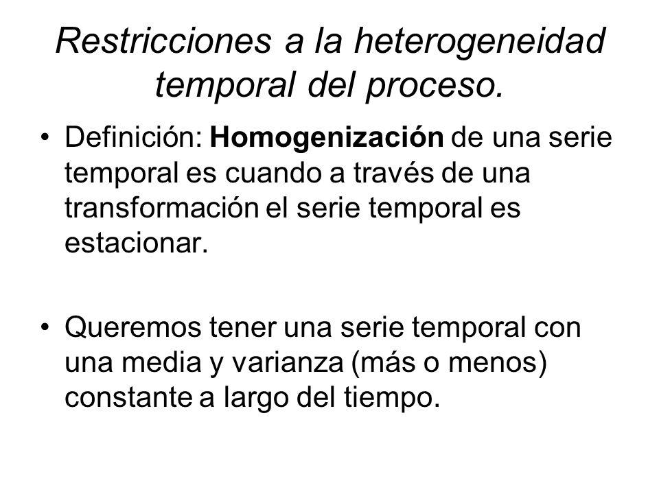 Restricciones a la heterogeneidad temporal del proceso. Definición: Homogenización de una serie temporal es cuando a través de una transformación el s