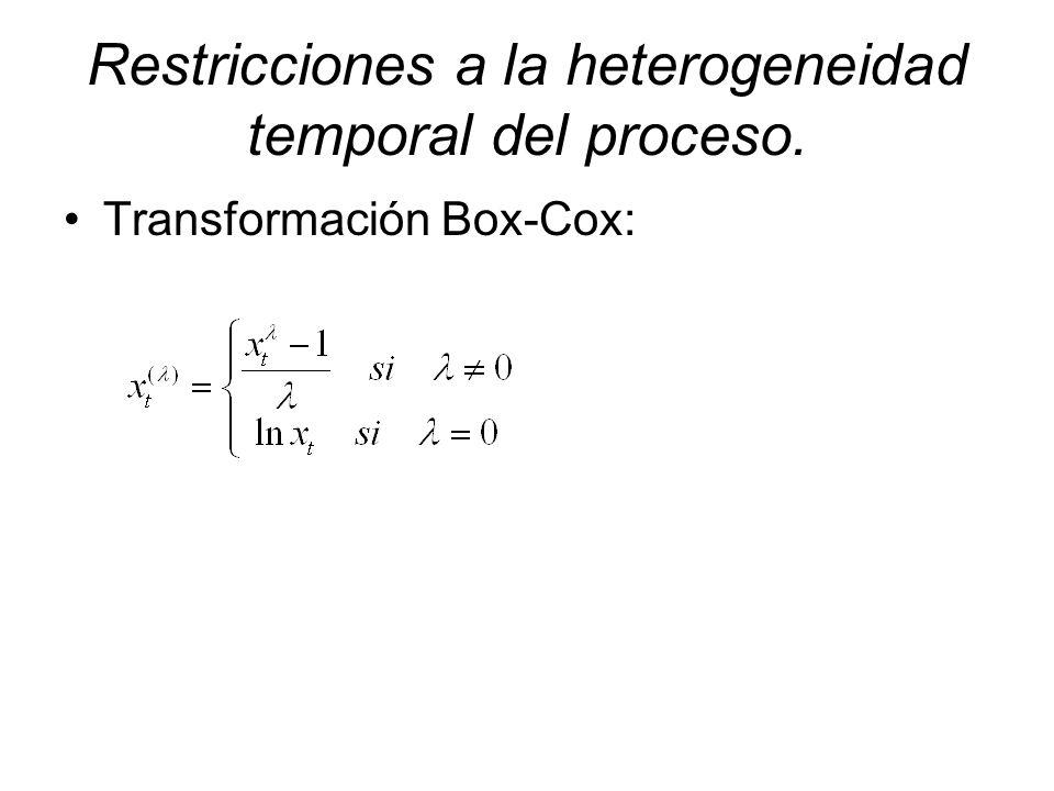 Restricciones a la heterogeneidad temporal del proceso. Transformación Box-Cox: