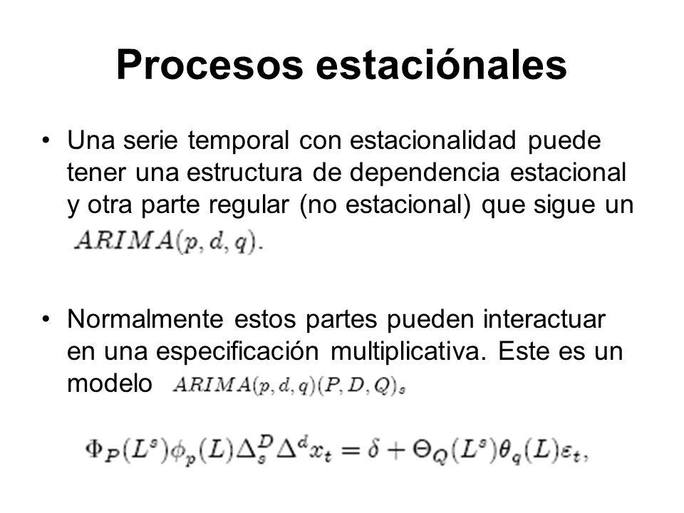 Una serie temporal con estacionalidad puede tener una estructura de dependencia estacional y otra parte regular (no estacional) que sigue un Normalmen