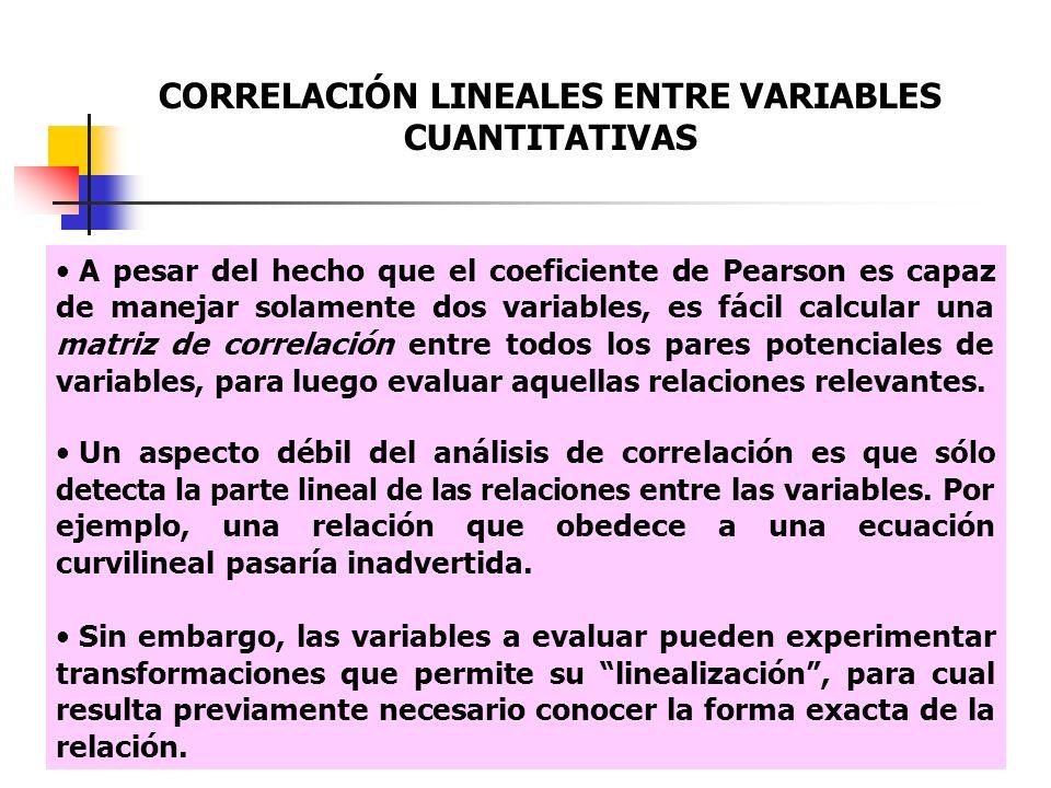 CORRELACIÓN LINEALES ENTRE VARIABLES CUANTITATIVAS A pesar del hecho que el coeficiente de Pearson es capaz de manejar solamente dos variables, es fác