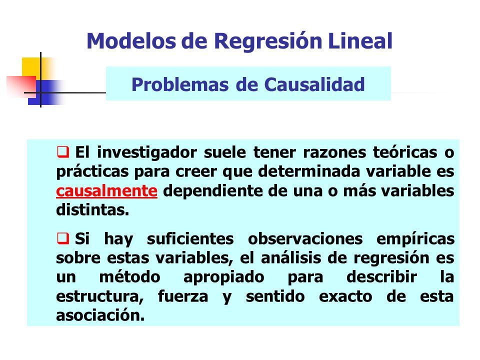 Problemas de Causalidad El investigador suele tener razones teóricas o prácticas para creer que determinada variable es causalmente dependiente de una