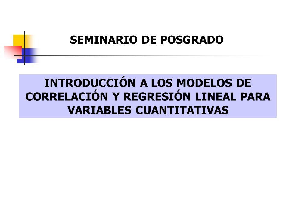 INTRODUCCIÓN A LOS MODELOS DE CORRELACIÓN Y REGRESIÓN LINEAL PARA VARIABLES CUANTITATIVAS SEMINARIO DE POSGRADO