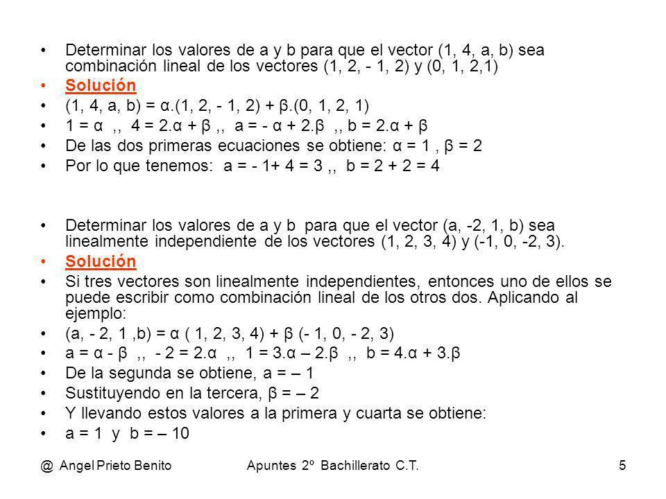 @ Angel Prieto BenitoApuntes 2º Bachillerato C.T.5 Determinar los valores de a y b para que el vector (1, 4, a, b) sea combinación lineal de los vecto