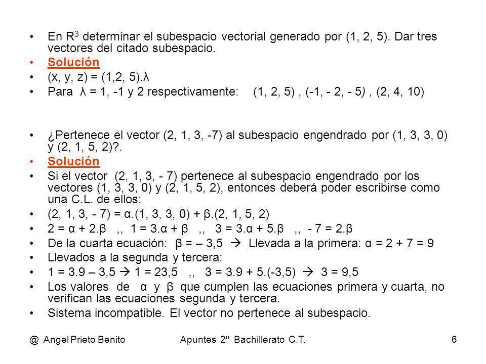 @ Angel Prieto BenitoApuntes 2º Bachillerato C.T.6 En R 3 determinar el subespacio vectorial generado por (1, 2, 5). Dar tres vectores del citado sube