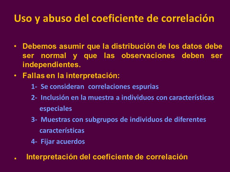 Uso y abuso del coeficiente de correlación Debemos asumir que la distribución de los datos debe ser normal y que las observaciones deben ser independi