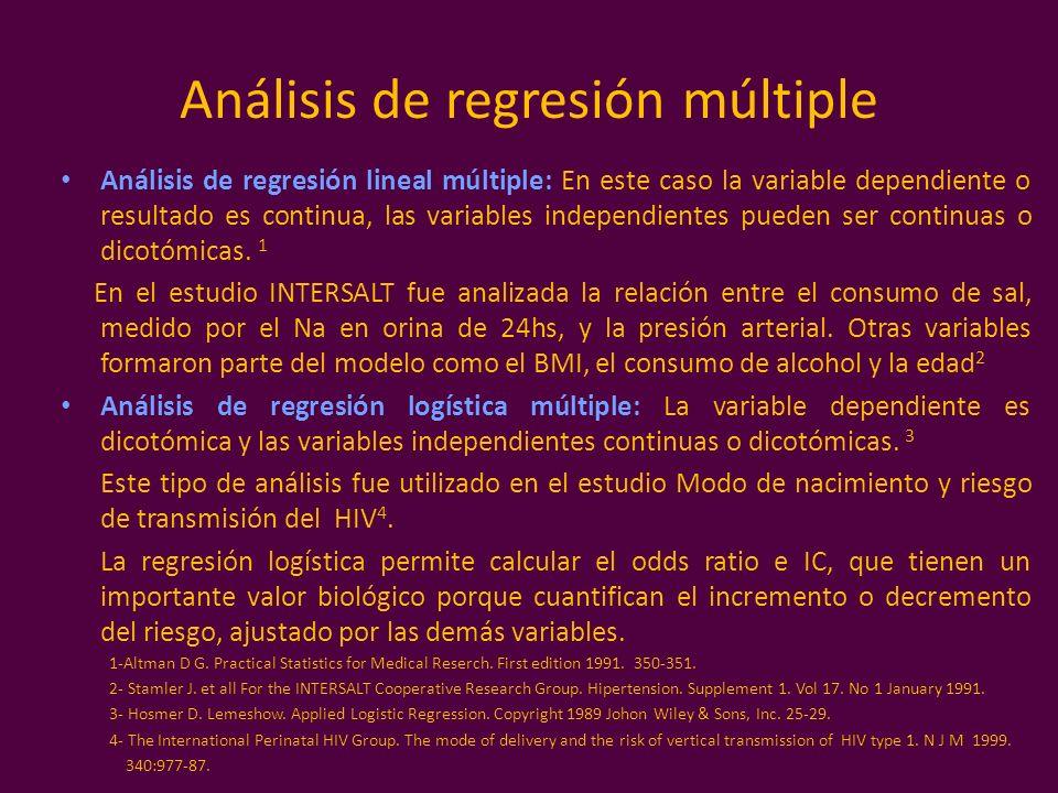 Análisis de regresión múltiple Análisis de regresión lineal múltiple: En este caso la variable dependiente o resultado es continua, las variables inde