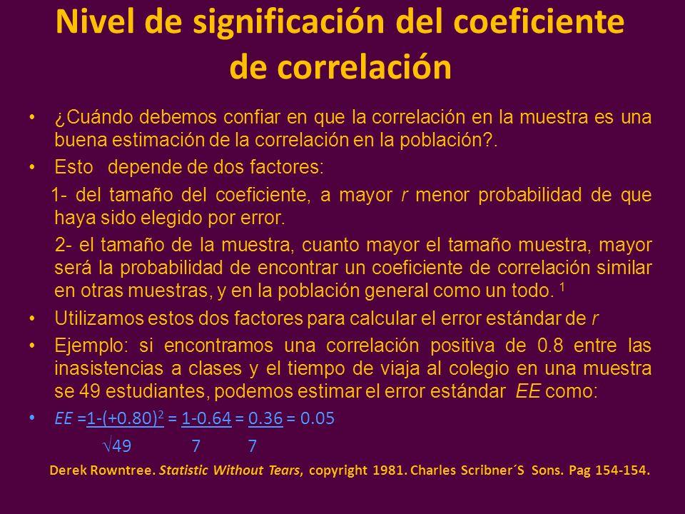 Intervalo de confianza y test de hipótesis asintóticos para r Podemos obtener intervalos de confianza (IC) para la correlación en la población, con la fórmula: IC = r + z * EE, en nuestro ejemplo el intervalo de confianza del 95%, para la correlación entre la distancia a la escuela y el número de inasistencias se calcula de la siguiente forma: IC = 0.80 + 1.64 * 0.05 = 0.80 + 0.08 o sea el intervalo será de 0.72 a 0.88.