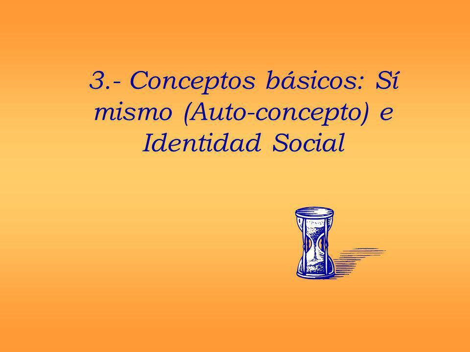 3.- Conceptos básicos: Sí mismo (Auto-concepto) e Identidad Social