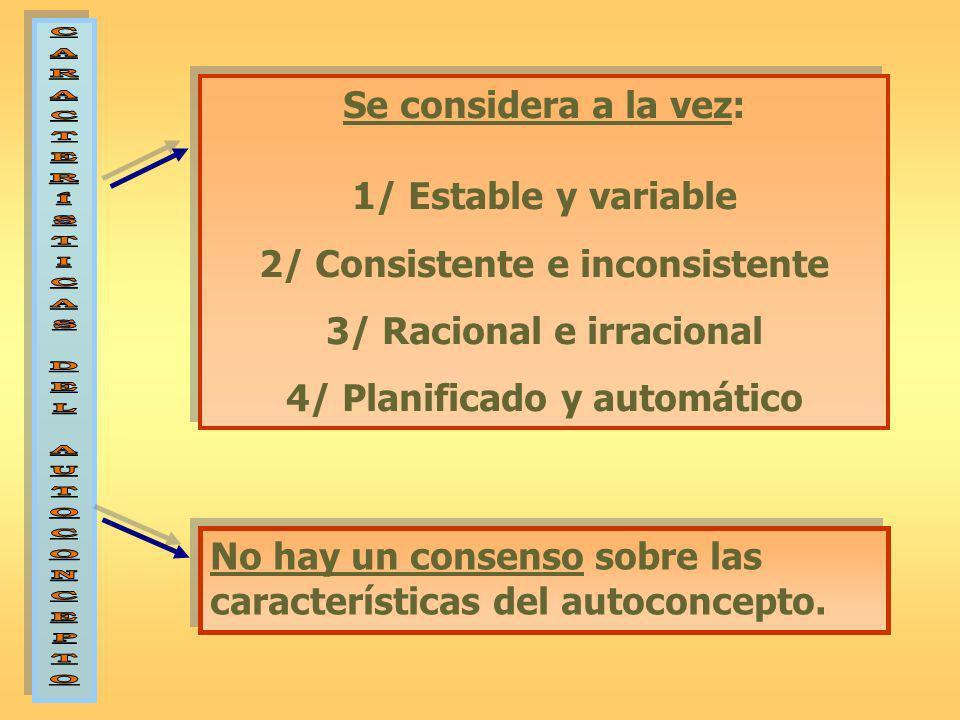 Se considera a la vez: 1/ Estable y variable 2/ Consistente e inconsistente 3/ Racional e irracional 4/ Planificado y automático Se considera a la vez