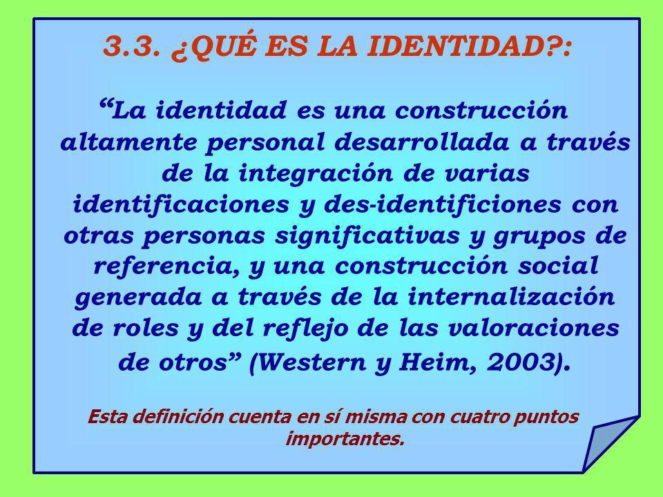 3.3. ¿QUÉ ES LA IDENTIDAD?: La identidad es una construcción altamente personal desarrollada a través de la integración de varias identificaciones y d