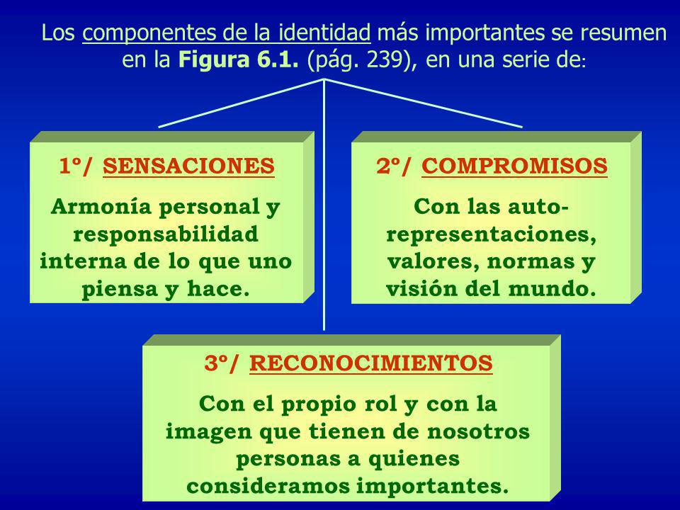 Los componentes de la identidad más importantes se resumen en la Figura 6.1. (pág. 239), en una serie de : 1º/ SENSACIONES Armonía personal y responsa