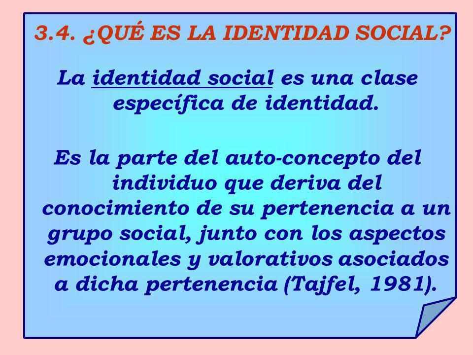 3.4. ¿QUÉ ES LA IDENTIDAD SOCIAL? La identidad social es una clase específica de identidad. Es la parte del auto-concepto del individuo que deriva del