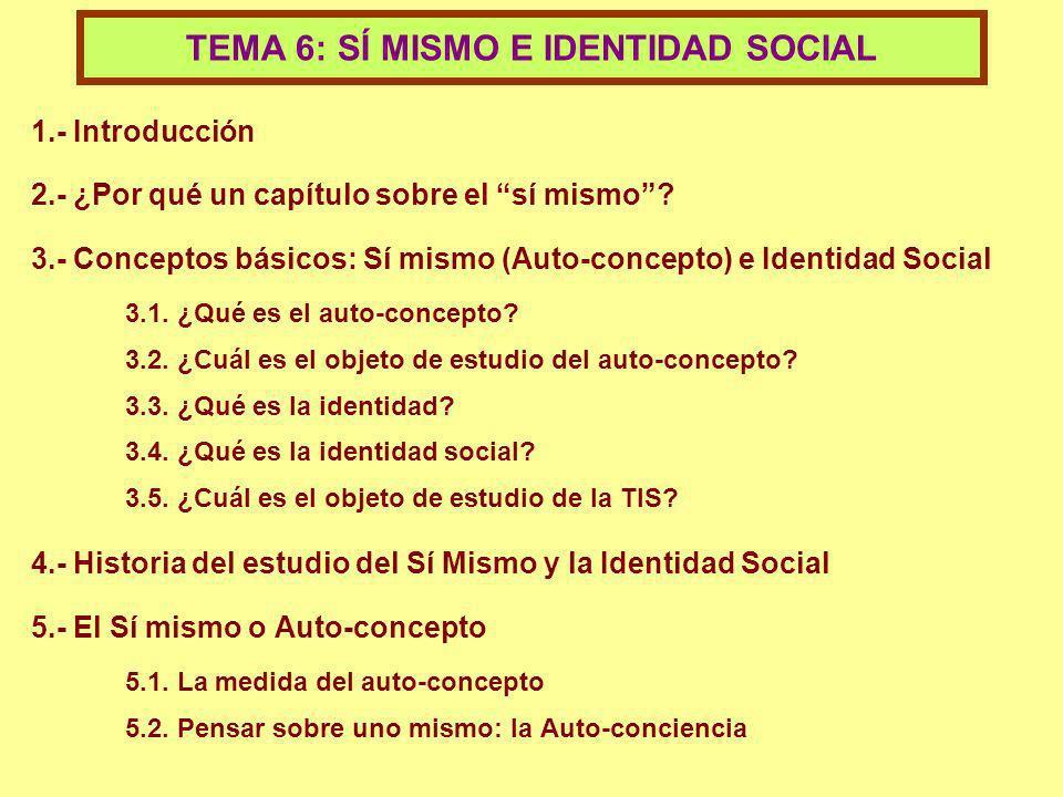 1.- Introducción 2.- ¿Por qué un capítulo sobre el sí mismo? 3.- Conceptos básicos: Sí mismo (Auto-concepto) e Identidad Social 3.1. ¿Qué es el auto-c