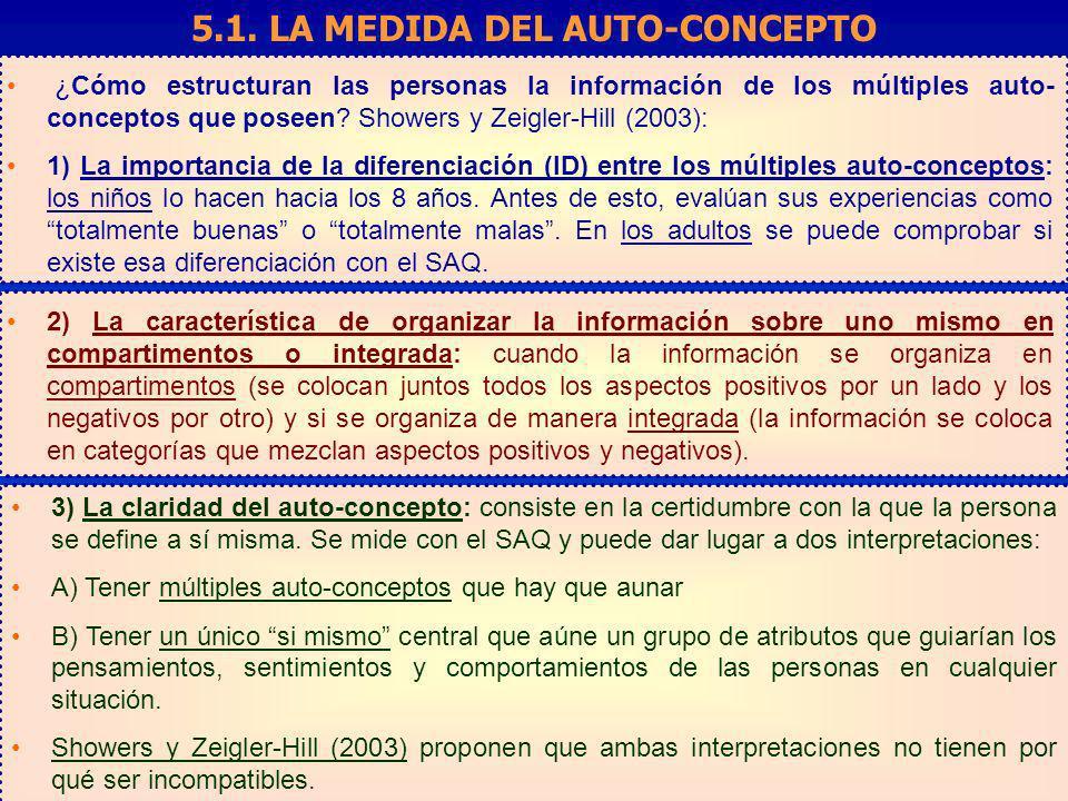 ¿Cómo estructuran las personas la información de los múltiples auto- conceptos que poseen? Showers y Zeigler-Hill (2003): 1) La importancia de la dife