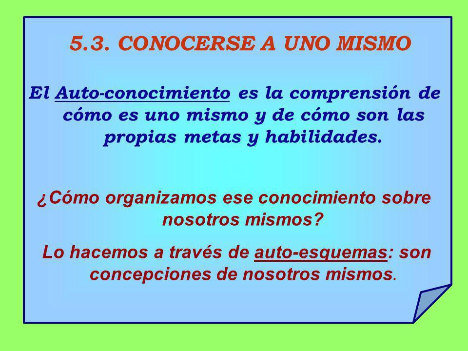 5.3. CONOCERSE A UNO MISMO El Auto-conocimiento es la comprensión de cómo es uno mismo y de cómo son las propias metas y habilidades. ¿Cómo organizamo