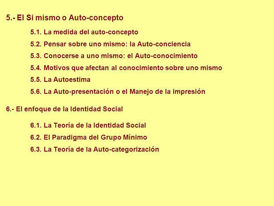 5.- El Sí mismo o Auto-concepto 5.1. La medida del auto-concepto 5.2. Pensar sobre uno mismo: la Auto-conciencia 5.3. Conocerse a uno mismo: el Auto-c