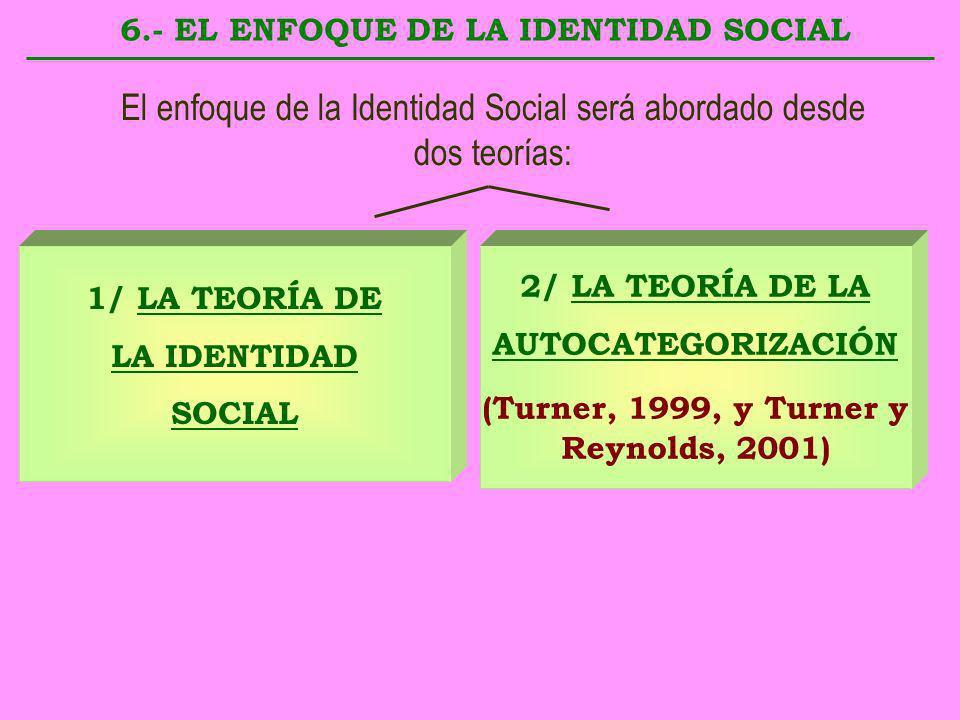 6.- EL ENFOQUE DE LA IDENTIDAD SOCIAL 1/ LA TEORÍA DE LA IDENTIDAD SOCIAL 2/ LA TEORÍA DE LA AUTOCATEGORIZACIÓN (Turner, 1999, y Turner y Reynolds, 20