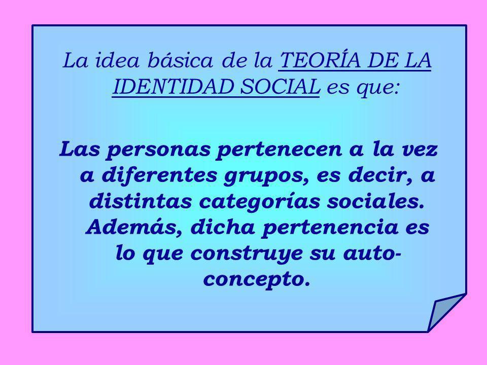 La idea básica de la TEORÍA DE LA IDENTIDAD SOCIAL es que: Las personas pertenecen a la vez a diferentes grupos, es decir, a distintas categorías soci