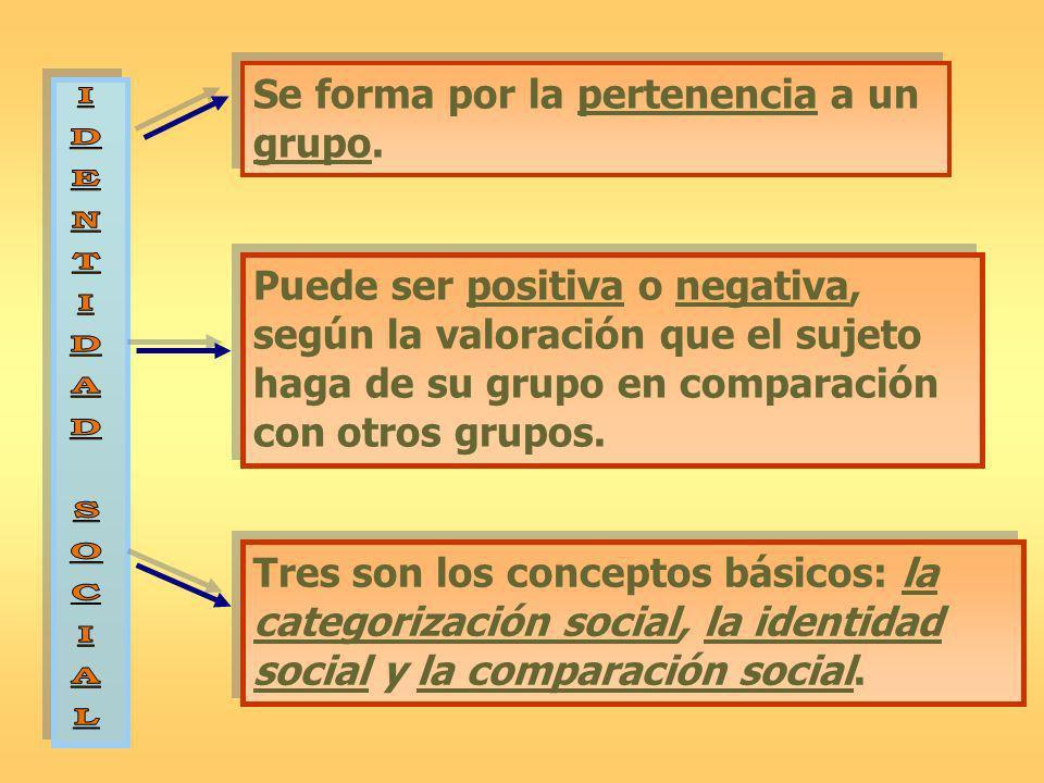 Se forma por la pertenencia a un grupo. Tres son los conceptos básicos: la categorización social, la identidad social y la comparación social. Puede s