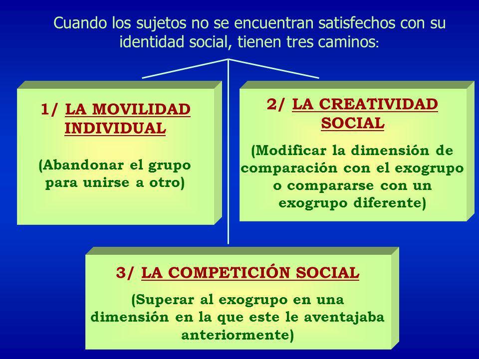Cuando los sujetos no se encuentran satisfechos con su identidad social, tienen tres caminos : 1/ LA MOVILIDAD INDIVIDUAL (Abandonar el grupo para uni