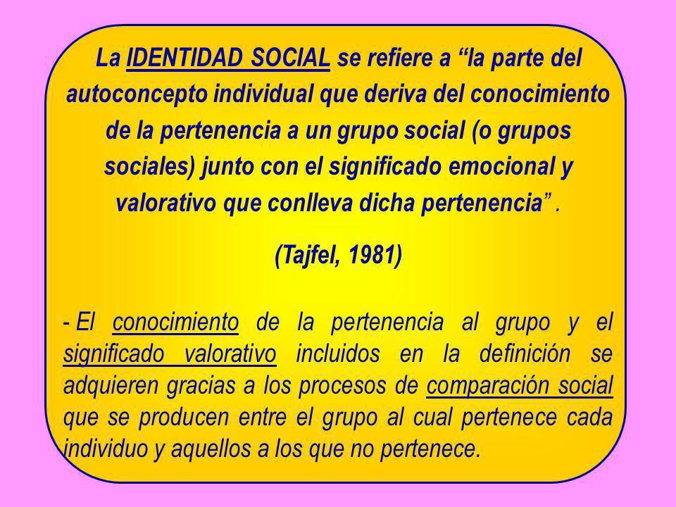 La IDENTIDAD SOCIAL se refiere a la parte del autoconcepto individual que deriva del conocimiento de la pertenencia a un grupo social (o grupos social