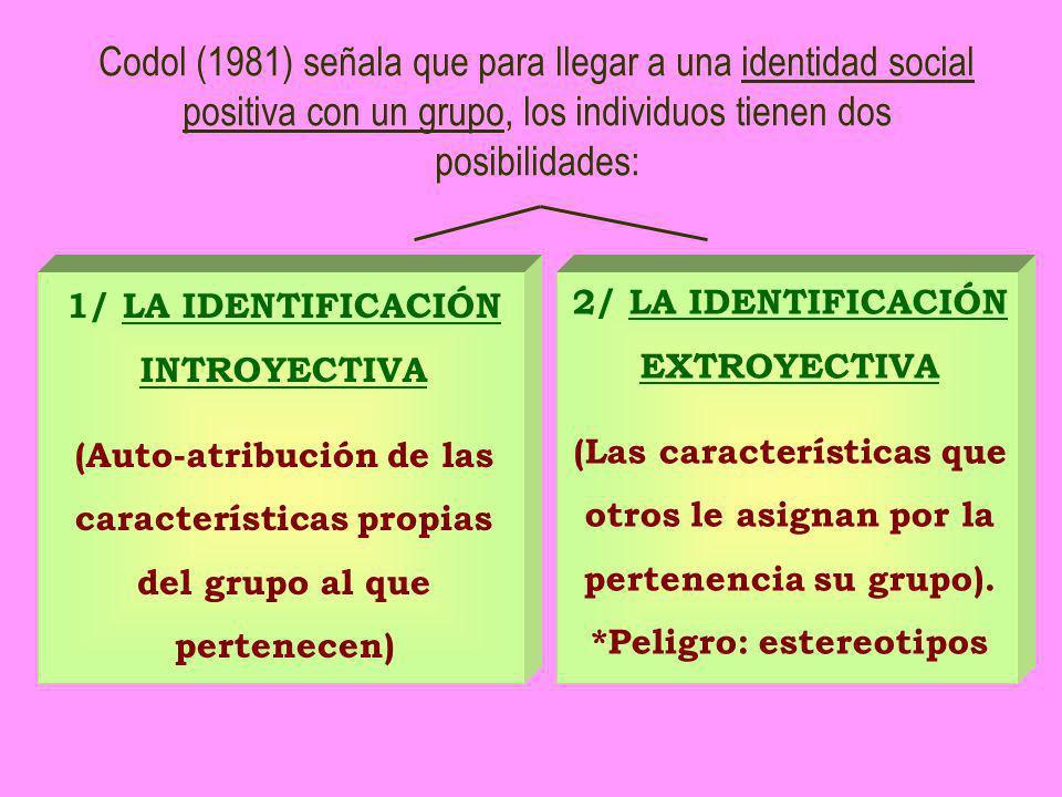 1/ LA IDENTIFICACIÓN INTROYECTIVA (Auto-atribución de las características propias del grupo al que pertenecen) 2/ LA IDENTIFICACIÓN EXTROYECTIVA (Las