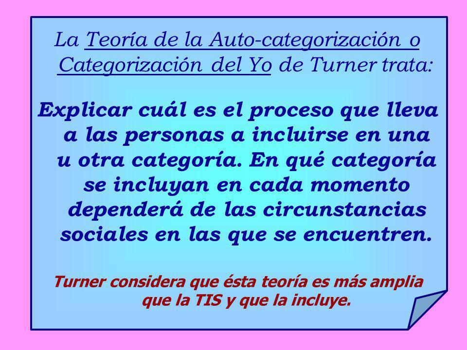 La Teoría de la Auto-categorización o Categorización del Yo de Turner trata: Explicar cuál es el proceso que lleva a las personas a incluirse en una u
