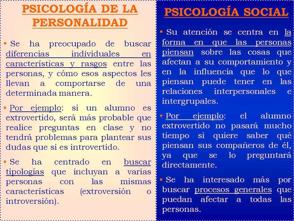 PSICOLOGÍA DE LA PERSONALIDAD Se ha preocupado de buscar diferencias individuales en características y rasgos entre las personas, y cómo esos aspectos