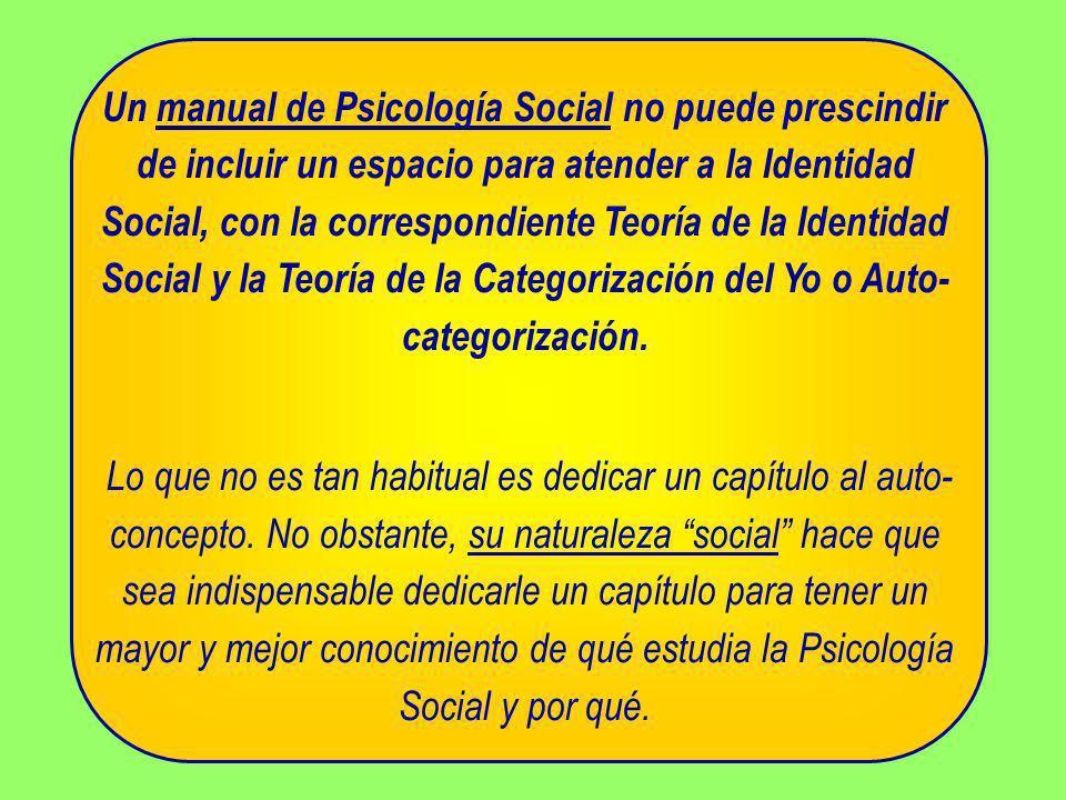 Un manual de Psicología Social no puede prescindir de incluir un espacio para atender a la Identidad Social, con la correspondiente Teoría de la Ident