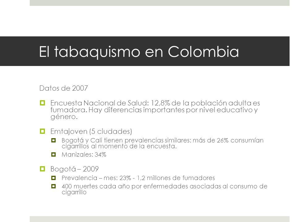 El tabaquismo en Colombia Datos de 2007 Encuesta Nacional de Salud: 12,8% de la población adulta es fumadora. Hay diferencias importantes por nivel ed