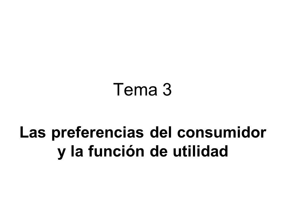 Tema 3 Las preferencias del consumidor y la función de utilidad