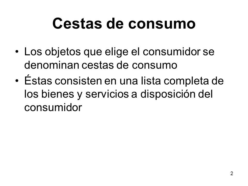 2 Cestas de consumo Los objetos que elige el consumidor se denominan cestas de consumo Éstas consisten en una lista completa de los bienes y servicios a disposición del consumidor