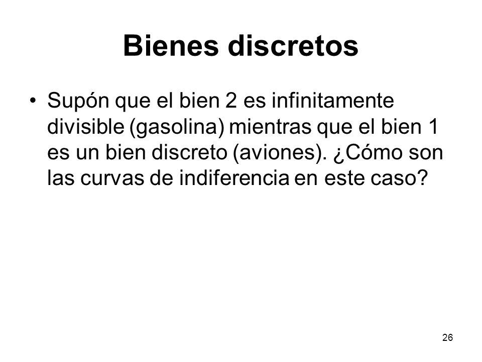 26 Bienes discretos Supón que el bien 2 es infinitamente divisible (gasolina) mientras que el bien 1 es un bien discreto (aviones).
