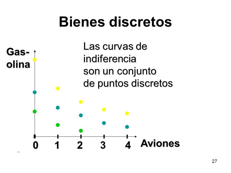 27 Bienes discretos Gas- olina Aviones 01234 Las curvas de indiferencia son un conjunto de puntos discretos