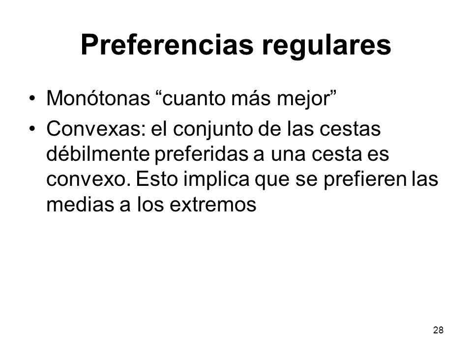 28 Preferencias regulares Monótonas cuanto más mejor Convexas: el conjunto de las cestas débilmente preferidas a una cesta es convexo.