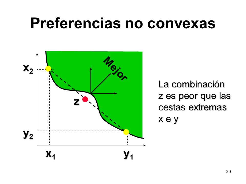 33 Preferencias no convexas x2x2x2x2 y2y2y2y2 x1x1x1x1 y1y1y1y1 z Mejor La combinación z es peor que las cestas extremas x e y