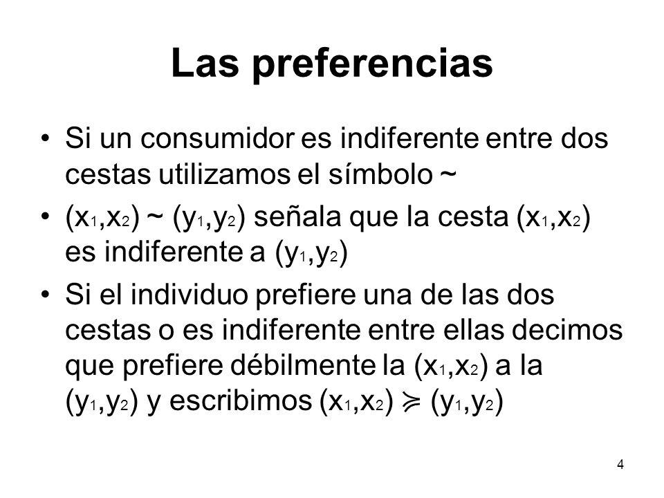 4 Las preferencias Si un consumidor es indiferente entre dos cestas utilizamos el símbolo ~ (x 1,x 2 ) ~ (y 1,y 2 ) señala que la cesta (x 1,x 2 ) es indiferente a (y 1,y 2 ) Si el individuo prefiere una de las dos cestas o es indiferente entre ellas decimos que prefiere débilmente la (x 1,x 2 ) a la (y 1,y 2 ) y escribimos (x 1,x 2 ) (y 1,y 2 )