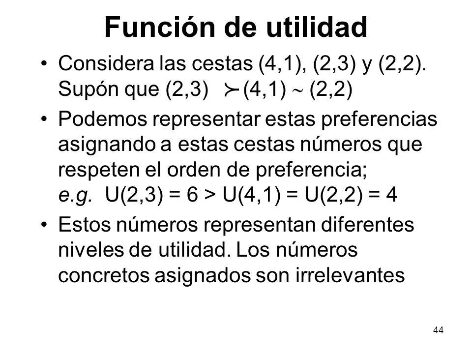 44 Función de utilidad Considera las cestas (4,1), (2,3) y (2,2).