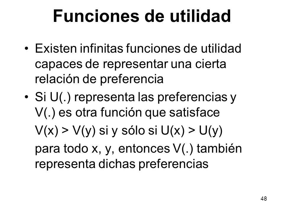 48 Funciones de utilidad Existen infinitas funciones de utilidad capaces de representar una cierta relación de preferencia Si U(.) representa las preferencias y V(.) es otra función que satisface V(x) > V(y) si y sólo si U(x) > U(y) para todo x, y, entonces V(.) también representa dichas preferencias