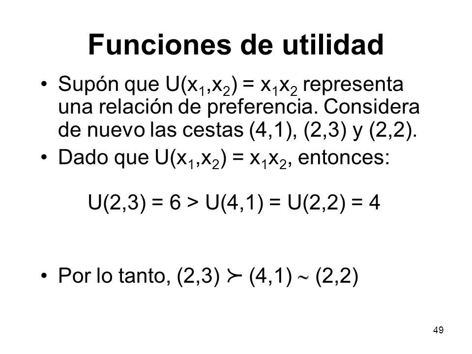 49 Funciones de utilidad Supón que U(x 1,x 2 ) = x 1 x 2 representa una relación de preferencia.