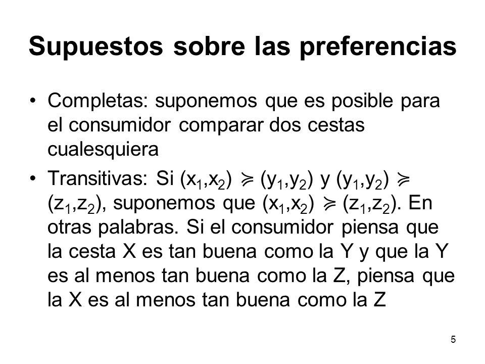 5 Supuestos sobre las preferencias Completas: suponemos que es posible para el consumidor comparar dos cestas cualesquiera Transitivas: Si (x 1,x 2 ) (y 1,y 2 ) y (y 1,y 2 ) (z 1,z 2 ), suponemos que (x 1,x 2 ) (z 1,z 2 ).