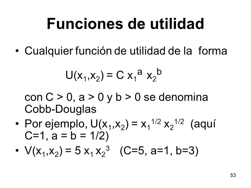 53 Funciones de utilidad Cualquier función de utilidad de la forma U(x 1,x 2 ) = C x 1 a x 2 b con C > 0, a > 0 y b > 0 se denomina Cobb-Douglas Por ejemplo, U(x 1,x 2 ) = x 1 1/2 x 2 1/2 (aquí C=1, a = b = 1/2) V(x 1,x 2 ) = 5 x 1 x 2 3 (C=5, a=1, b=3)