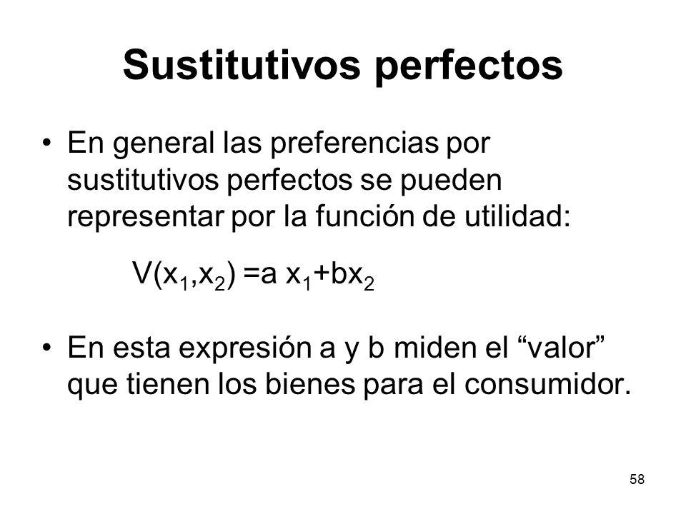 58 Sustitutivos perfectos En general las preferencias por sustitutivos perfectos se pueden representar por la función de utilidad: En esta expresión a y b miden el valor que tienen los bienes para el consumidor.