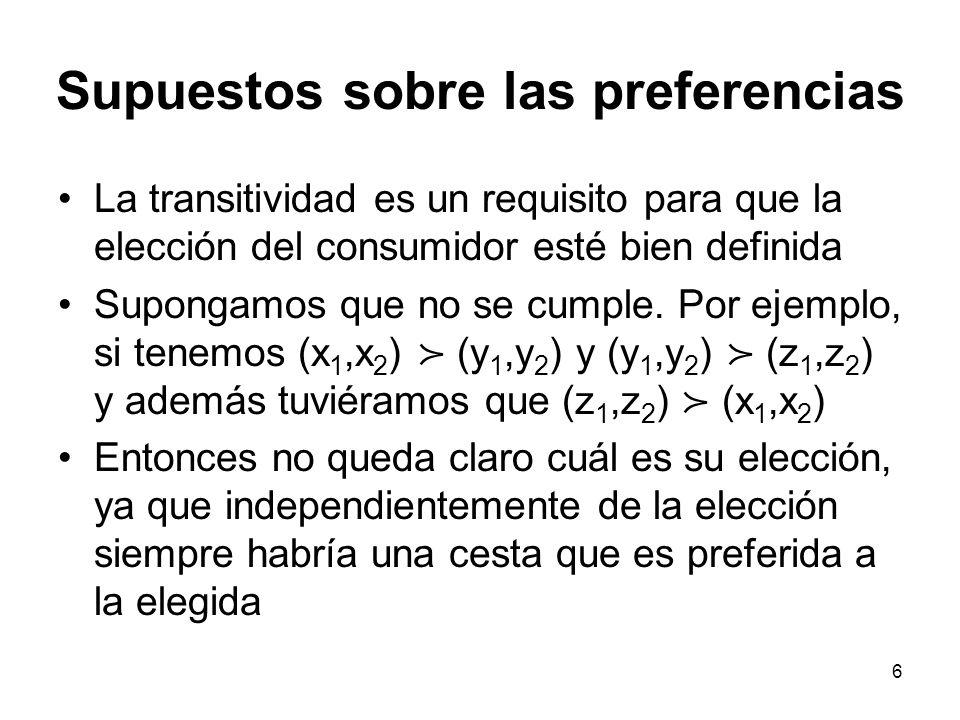 6 Supuestos sobre las preferencias La transitividad es un requisito para que la elección del consumidor esté bien definida Supongamos que no se cumple.