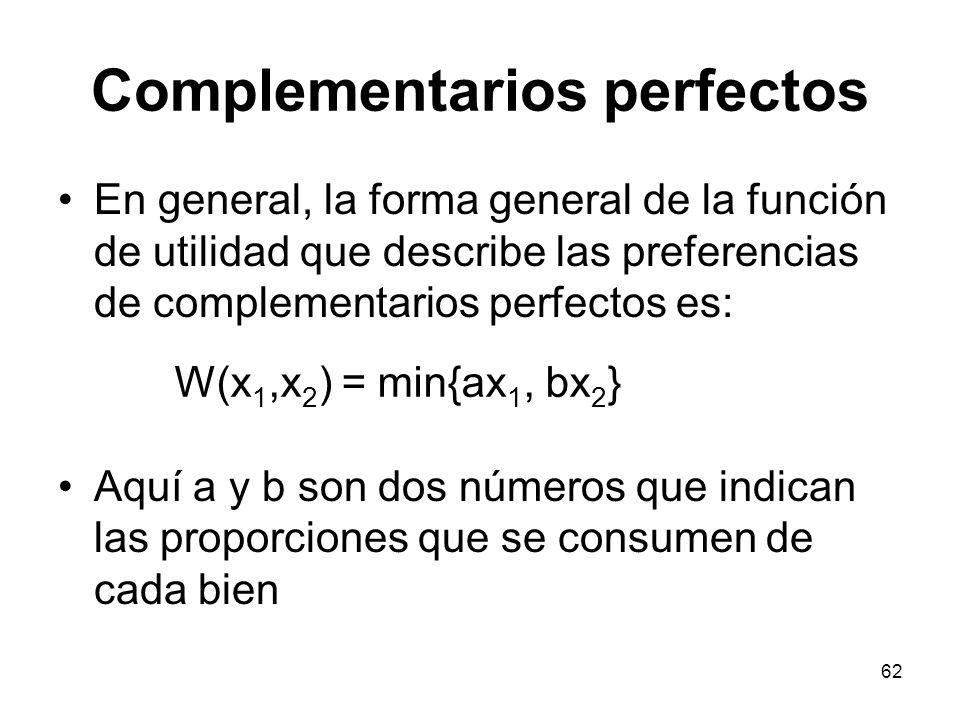 62 Complementarios perfectos En general, la forma general de la función de utilidad que describe las preferencias de complementarios perfectos es: Aquí a y b son dos números que indican las proporciones que se consumen de cada bien W(x 1,x 2 ) = min{ax 1, bx 2 }