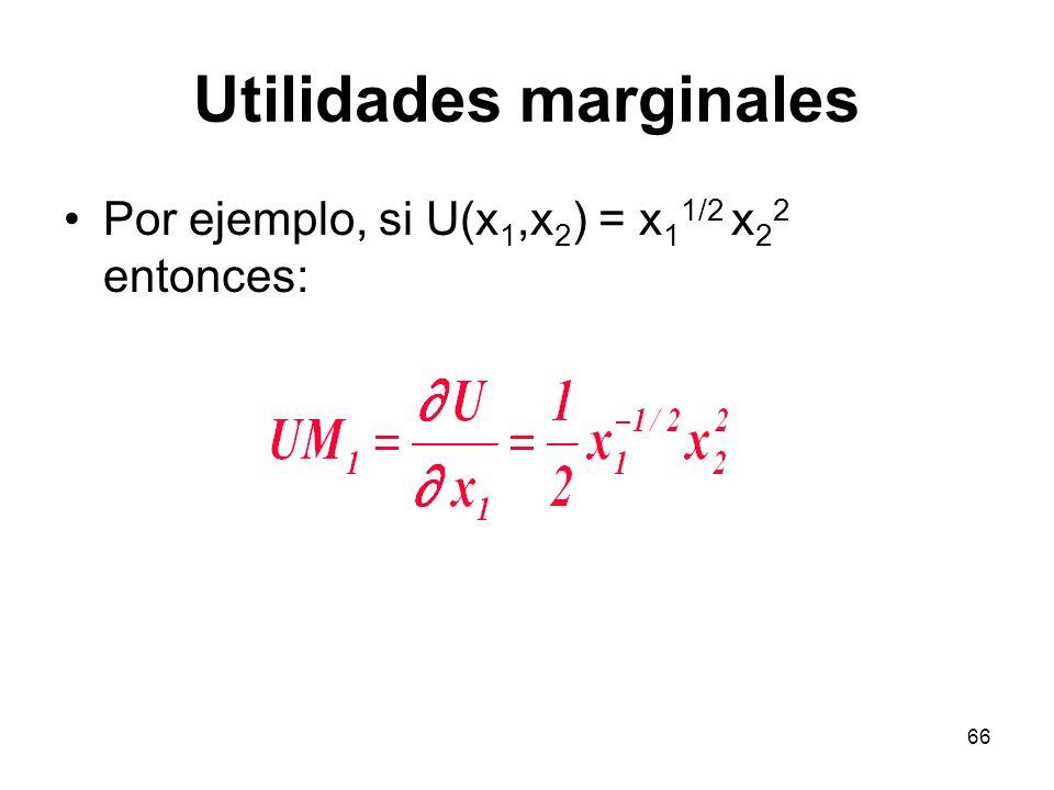 66 Utilidades marginales Por ejemplo, si U(x 1,x 2 ) = x 1 1/2 x 2 2 entonces: